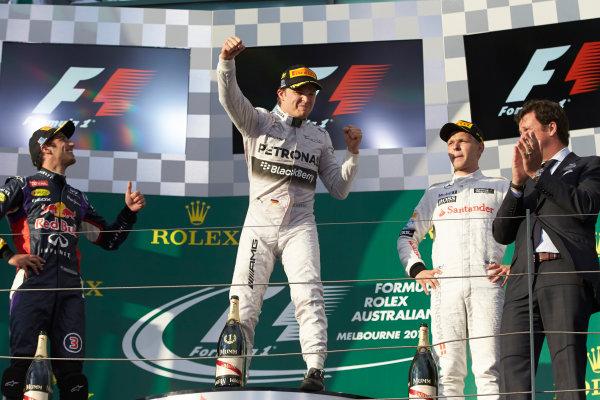 Albert Park, Melbourne, Australia. Sunday 16 March 2014. Nico Rosberg, Mercedes AMG, 1st Position, celebrates on the podium. World Copyright: Steve Etherington/LAT Photographic. ref: Digital Image SNE26150 copy