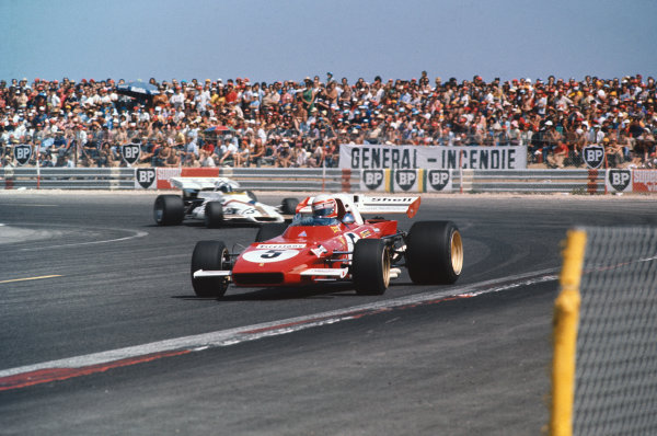 1971 French Grand Prix.  Paul Ricard, Le Castellet, France. 2nd-4th July 1971.  Clay Regazzoni, Ferrari 312B2, corrects a slide ahead of Pedro Rodriguez, BRM P160.  Ref: 71FRA67. World Copyright: LAT Photographic