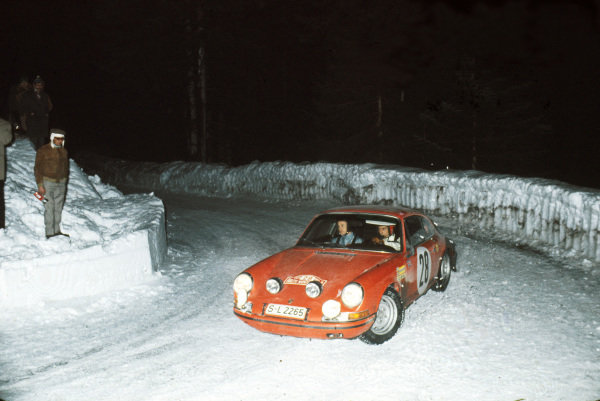 1969 Monte Carlo Rally. Monte Carlo Rally, Monaco. January 1969. Vic Elford/David Stone (Porsche 911S). They retired after an accident, action.  World Copyright: LAT Photographic Ref: 35mm transparency 69RALLY02.