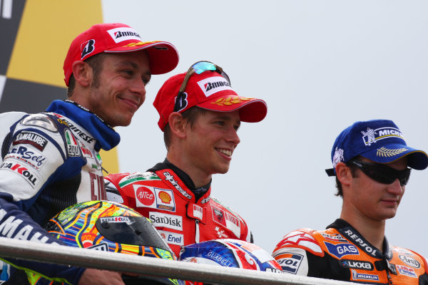 Donington Park, England. 20th-22nd June 2008.  Valentino Rossi, Yamaha, 2nd position, Casey Stoner, Ducati, 1st position, and Dani Pedrosa, Honda, 3rd position, on the podium.  Ref: IMG_7477a. World Copyright: Kevin Wood/LAT Photographic