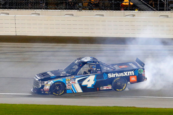 NASCAR Camping World Truck Series TheHouse.com 225 Chicagoland Speedway, Joliet, IL USA Friday 15 September 2017 Christopher Bell, SiriusXm Toyota Tundra celebrates his regular season win with a burnout  World Copyright: Russell LaBounty LAT Images