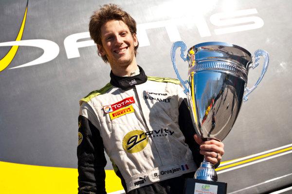 Imola, Italy. 20th March 2011. Sunday Race.Romain Grosjean, (FRA, Dams) celebrates victory in the Championship.Portrait.    World Copyright: Drew Gibson/GP2 Media Service.ref: Digital Image _Y8P0619