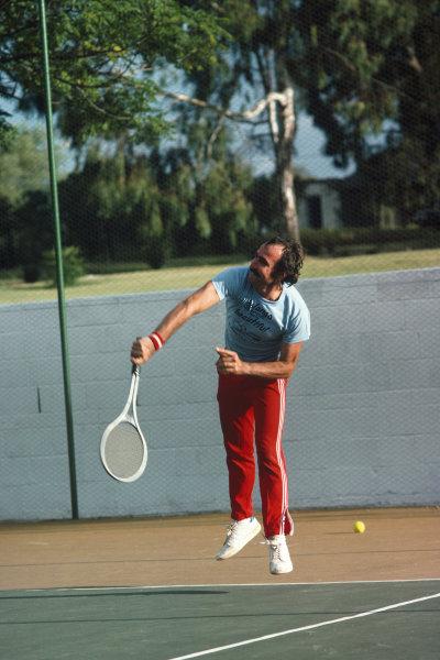 Clay Regazzoni plays tennis, portrait. World Copyright: LAT Photographic.Ref:  Colour Transparency.