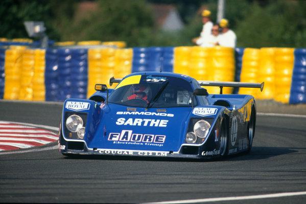 Le Mans, France. 10th - 11th June 1989.Patrick Gonin/Bernard de Dryver/Bernard Santal (Cougar C22LM Porsche), retired, action. World Copyright: LAT Photographic.Ref: 89LM51