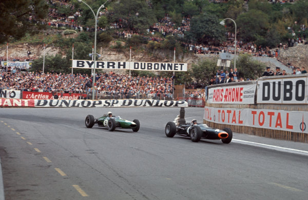 Monte Carlo, Monaco. 28-30 May 1965.  Jackie Stewart (BRM P261) 3rd position, leads Bob Anderson (Brabham BT11 Climax) 9th position.  Ref: 65MON01. World Copyright: LAT Photographic