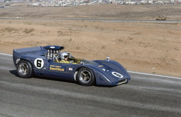 1968 Can-Am Challenge Cup.CanAm race. Riverside, California, United States (USA). 27 October 1968.Mark Donohue (McLaren M6B-Chevrolet), 2nd position.World Copyright: LAT PhotographicRef: 35mm transparency 69CANAM29