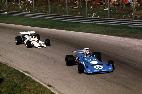 1971 Italian Grand Prix.Monza, Italy.3-5 September 1971.Chris Amon (Matra-Simca MS120B) leads Peter Gethin (BRM P160). They finished in 6th and 1st positions respectively in the closest and fastest GP in history.World Copyright - LAT Photographic