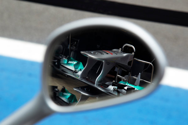 Interlagos, Sao Paulo, Brazil. 24th November 2011. Nose of the Mercedes GP W02 caught in a wing mirror. Detail.  World Copyright: Steve Etherington/LAT Photographic ref: Digital Image SNE24004