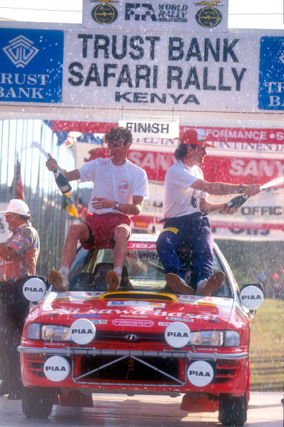 1994 World Rally Championship Safari Rally, Kenya, 1994. Richard Burns' first WRC start. Subaru Impreza, podium. World Copyright: LAT Photographic