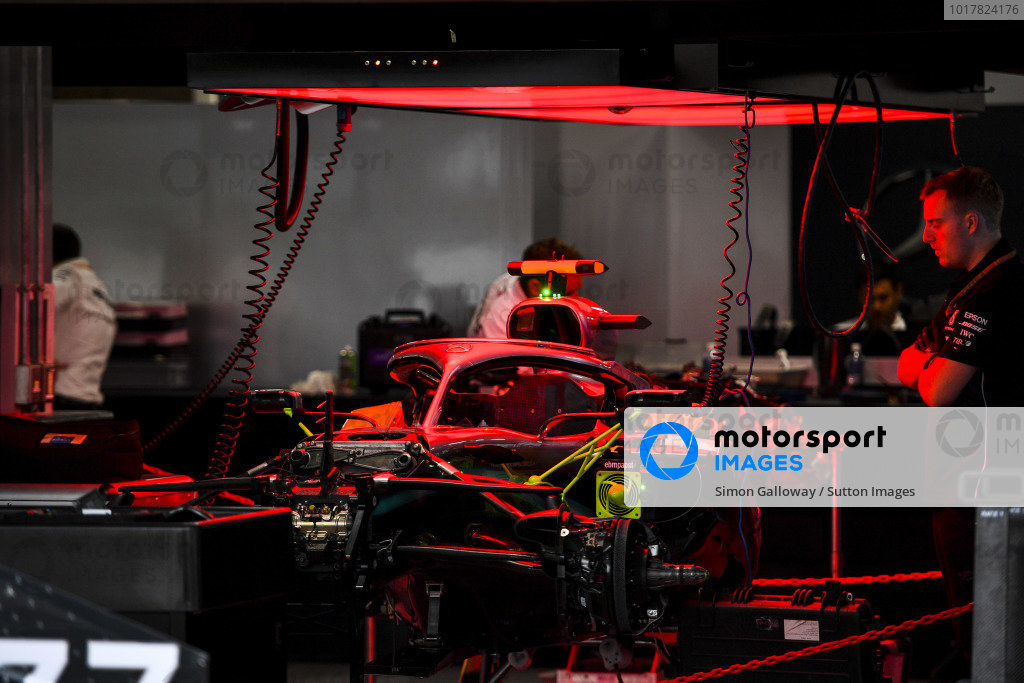 The car of Valtteri Bottas, Mercedes AMG W10, under Parc Ferme conditions
