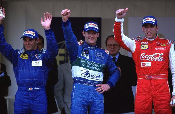 2001 F3000 ChampionshipMonte Carlo, Monaco. 26th May 2001Race winner Mark Webber, (Super Nova Racing), Justin Wilson (Coca-Cola Nordic Racing) 2nd and Stephane Sarrazin (Prost Junior) 3rd - podium.World Copyright: Clive Rose / LAT Photographicref: 35mm Image A02