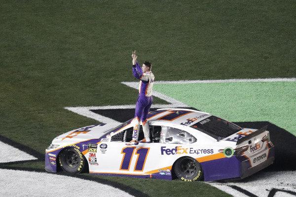 Winner #11: Denny Hamlin, Joe Gibbs Racing, Toyota Camry FedEx Express celebrates after his burnout