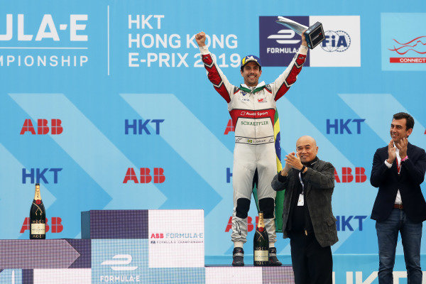 Lucas Di Grassi (BRA), Audi Sport ABT Schaeffler, Audi e-tron FE05, celebrates on the podium