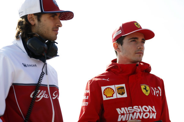 Antonio Giovinazzi, Alfa Romeo Racing and Charles Leclerc, Ferrari