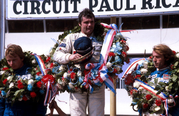 1980 French Grand Prix.Paul Ricard, Le Castellet, France.27-29 June 1980.Alan Jones (Williams Ford) 1st position, Didier Pironi 2nd position and Jacques Laffite 3rd position (both Ligier Ford) on the podium.Ref-80 FRA 14.World Copyright - LAT Photographic