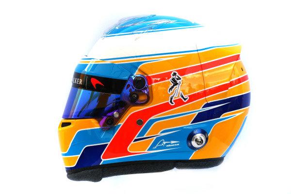 The helmet of Fernando Alonso (ESP) McLaren at Formula One World Championship, Rd1, Australian Grand Prix, Preparations, Albert Park, Melbourne, Australia, Thursday 23 March 2017.