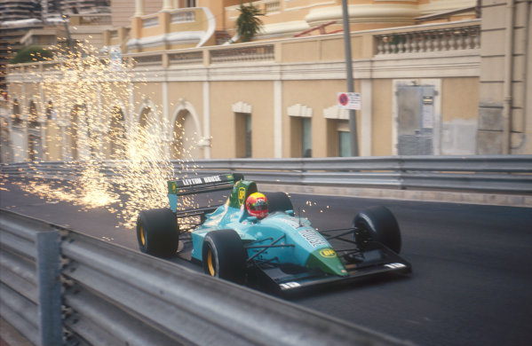 1991 Monaco Grand Prix.Monte Carlo, Monaco.26-28 April 1991.Mauricio Gugelmin (Leyton House CG911 Ilmor) makes the sparks fly, as his car bottoms out on the climb up Beau Rivage.Ref-91 MON 17.World Copyright - LAT Photographic