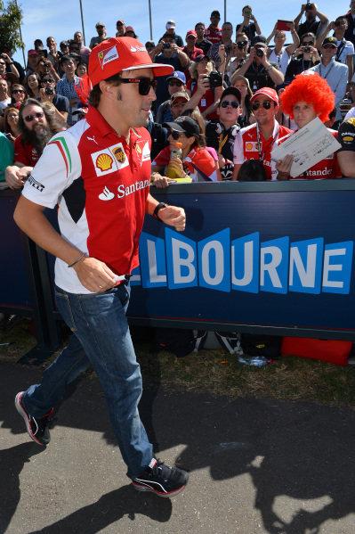 Fernando Alonso (ESP) Ferrari. Formula One World Championship, Rd1, Australian Grand Prix, Preparations, Albert Park, Melbourne, Australia, Thursday 13 March 2014.