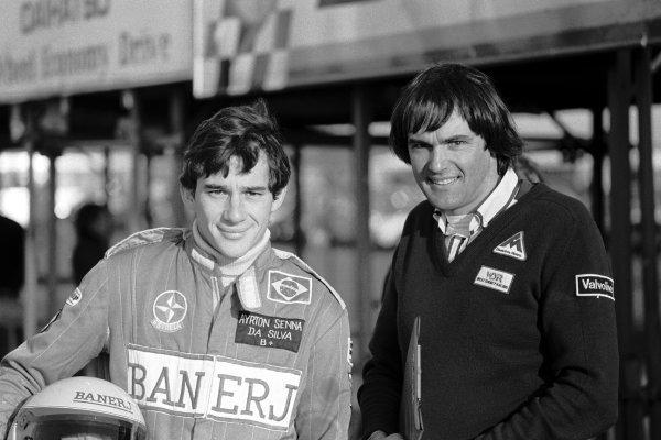 (L to R): Ayrton Senna da Silva (BRA) won his first attempt at Formula Three with the help of West Surrey Racing Managing Director Dick Bennetts (NZL). Non-Championship Formula Three, Thruxton, England, 13 November 1982.