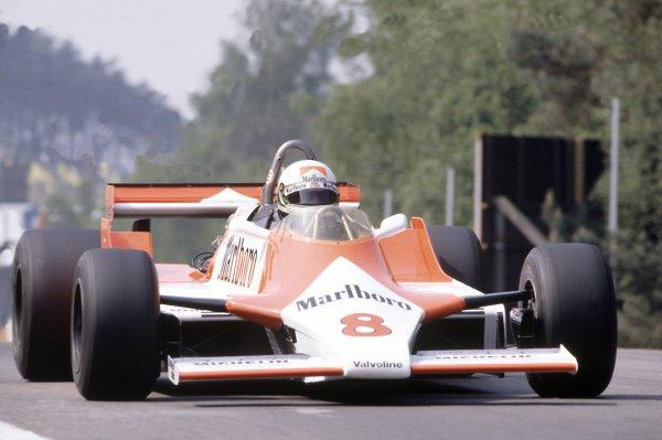 1981 Belgian Grand PrixZolder, Belgium. 15-17 May 1981.Andrea de Cesaris (McLaren M29F-Ford Cosworth), retired. Ref - 81BEL24.World Copyright - LAT Photographic