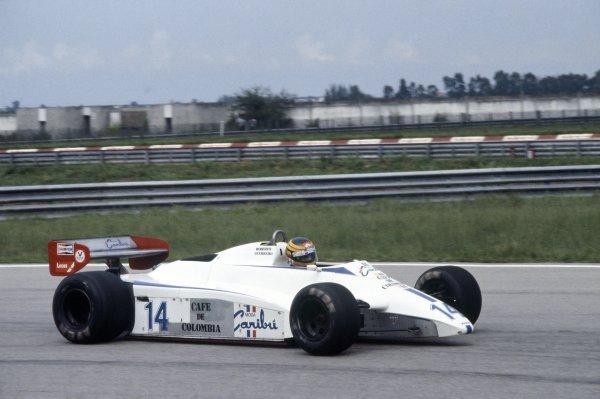 1982 Brazilian Grand Prix.Rio de Janeiro, Brazil. 19-21 March 1982.Roberto Guerrero (Ensign N181-Ford Cosworth), did not qualify.World Copyright: LAT PhotographicRef: 35mm transparency 82BRA12