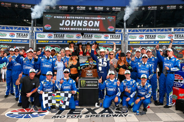 2017 Monster Energy NASCAR Cup Series O'Reilly Auto Parts 500 Texas Motor Speedway, Fort Worth, TX USA Sunday 9 April 2017 Jimmie Johnson celebrates in victory lane  World Copyright: Russell LaBounty/LAT Images ref: Digital Image 17TEX1rl_5266