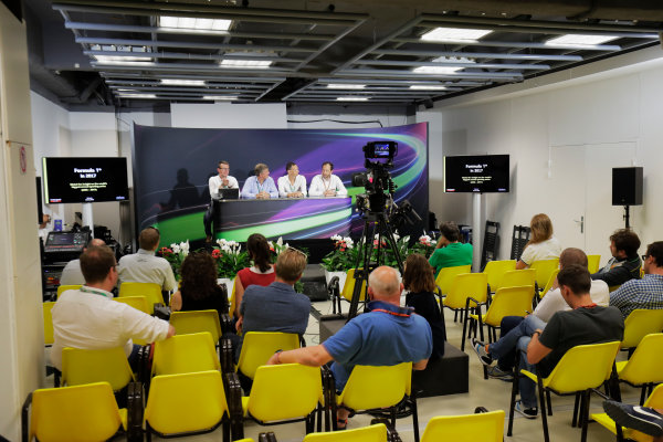 Monte Carlo, Monaco. Friday 26 May 2017. Ian Burrows, Nigel Geach, Charles Bradley and Peter Bayer, FIA Secretary General for Motor Sport at the F1 Motorsport Network Global Fan Survey Press Conference. World Copyright: Zak Mauger/LAT Images ref: Digital Image _56I6656