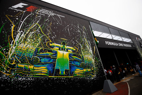 Interlagos, Sao Paulo, Brazil. Saturday 11 November 2017. Artwork at the entrance to the Paddock. World Copyright: Andy Hone/LAT Images  ref: Digital Image _ONZ5318