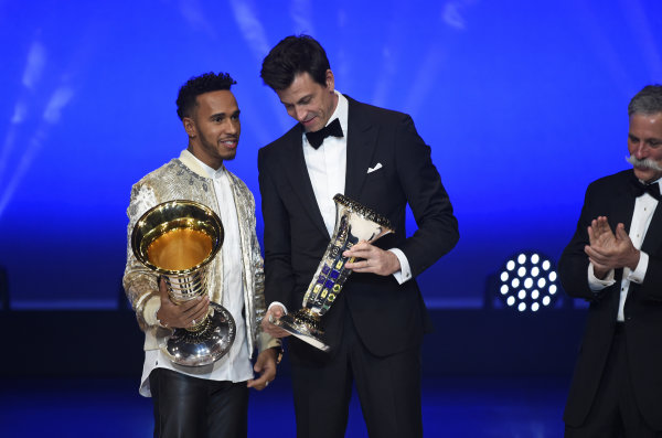 FIA Prize Giving Versailles, France. December 8, 2017. Lewis Hamilton with Toto Wolff during the FIA Prize Giving at Versailles. World Copyright: Jean Marie Hervio / DPPI / FIA Image ref: Digital image auto---fia-prize-giving---versailles-2017_38046269435_o