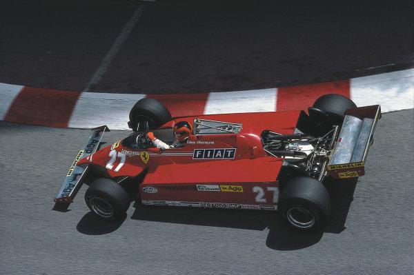 Monte Carlo. 28-31 May 1981. Gilles Villeneuve (Ferrari 126CK) 1st position.  Ref: 81MON58. World Copyright - LAT Photographic