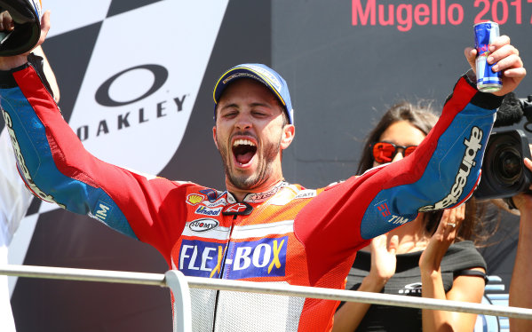 2017 MotoGP Championship - Round 6 Mugello, Italy Sunday 4 June 2017 Podium: Race winner Andrea Dovizioso, Ducati Team World Copyright: Gold & Goose Photography/LAT Images ref: Digital Image 674656