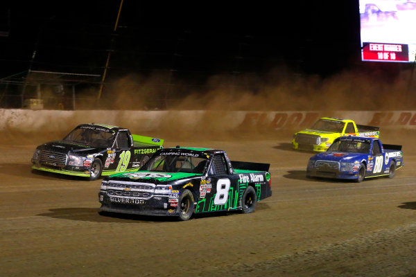 NASCAR Camping World Truck Series Eldora Dirt Derby Eldora Speedway, Rossburg, OH USA Wednesday 19 July 2017 John Hunter Nemechek, Fire Alarm Services, Inc. Chevrolet Silverado and Austin Cindric, Fitzgerald Glider Kits Ford F150 World Copyright: Russell LaBounty LAT Images