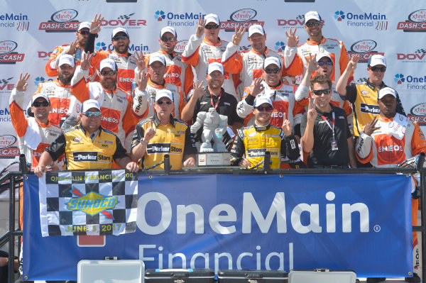 NASCAR XFINITY Series One Main Financial 200 Dover International Speedway, Dover, DE USA Saturday 3 June 2017 Kyle Larson, ParkerStore Chevrolet Camaro, celebrates in Victory Lane. World Copyright: John K Harrelson LAT Images ref: Digital Image 17DOV1jh_05186