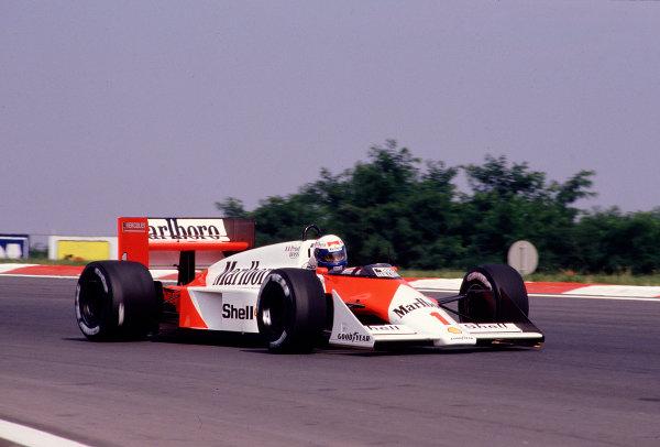 1987 Hungarian Grand Prix.Hungaroring, Budapest, Hungary.7-9 August 1987.Alain Prost (McLaren MP4/3 TAG Porsche) 3rd position.Ref-87 HUN 18.World Copyright - LAT Photographic