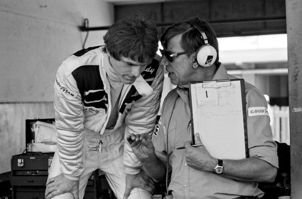 (L to R): Fourth placed Derek Daly (IRE) talks with Ken Tyrrell (GBR) Tyrrell Team Owner in the pits.Argentinean Grand Prix, Rd1, Buenos Aires, Argentina, 13 January 1980.
