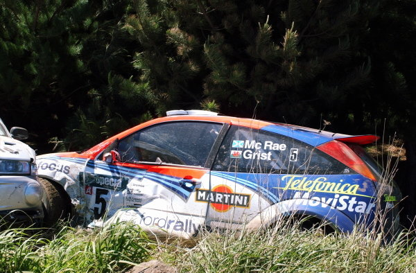 Colin McRae's (GBR) Ford Focus RS WRC off the road on stage 4.