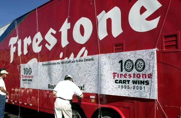 Firestone's get well card for Alex ZanardiCART World Series, Laguna Seca,USA, 14 October 2001