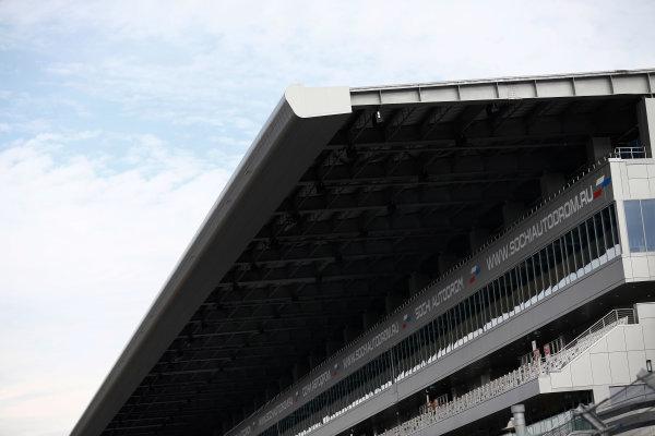2014 GP3 Series. Round 8.   Sochi Autodrom, Sochi, Russia.  Wednesday 8 October 2014. The main grandstand Photo: Sam Bloxham/GP3 Series Media Service. ref: Digital Image _SBL5945