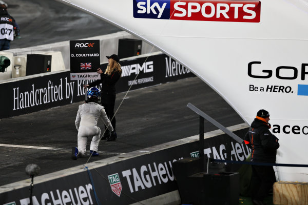 2015 Race Of Champions Olympic Stadium, London, UK Saturday 21 November 2015 David Coulthard (GBR) pretends to start without his car Copyright Free FOR EDITORIAL USE ONLY. Mandatory Credit: 'IMP'