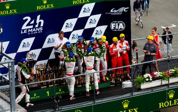 2016 Le Mans 24 Hours. Circuit de la Sarthe, Le Mans, France. Sunday 19 June 2016. Porsche Team / Porsche 919 Hybrid - Romain Dumas (FRA), Neel Jani (CHE), Marc Lieb (DEU), Toyota Gazoo Racing / Toyota TS050 - Hybrid - Stephane Sarrazin (FRA), Michael Conway (GBR), Kamui Kobayashi (JPN), Audi Sport Team Joest / Audi R18 - Lucas Di Grassi (BRA), Loic Duval (FRA), Oliver Jarvis (GBR), Rebellion Racing / Rebellion R-One-AER - Nicolas Prost (FRA), Nick Heidfeld (DEU), Nelson Piquet (NLD).  World Copyright: Zak Mauger/LAT Photographic ref: Digital Image _79P9112
