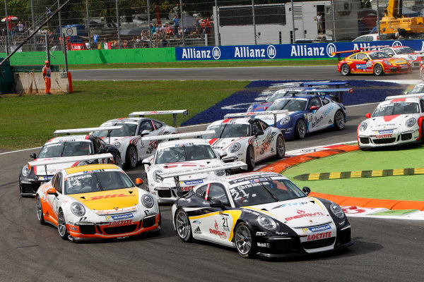 Autodromo Nazionale di Monza, Monza, Italy. 7th September 2013. Michael Christensen, #21 DAMS, leads Sean Edwards, #14 Allyouneed by Project 1, Philipp Eng, #7 MRS GT-Racing, Jeroen Bleekemolen, #4 Lechner Racing, and the remainder of the field at the start. World Copyright: Alastair Staley/LAT Photographic. ref: Digital Image _A8C6631
