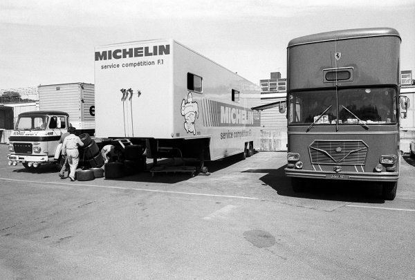 The Michelin service competition F1 truck sits in between the Renault and Ferrari trucks in the paddock.Formula One Testing, Brands Hatch, England, c. June 1978.