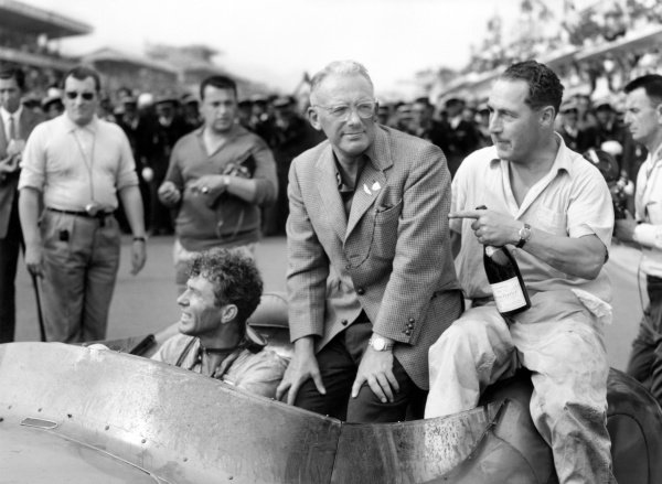 1959 Le Mans 24 hours.Le Mans, France. 20-21 June 1959.Carroll Shelby (Aston Martin DBR1), 1st position, with team owner, David Brown and team mate, Jack Fairman, sits on the car as they drive into parc ferme, action.World Copyright: LAT PhotographicRef: C55985