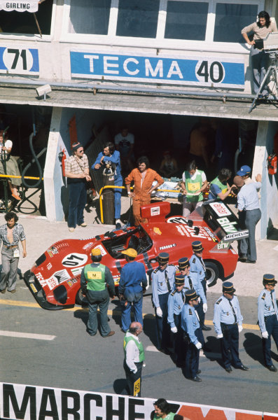 Le Mans, France. 14-15 June 1975 Jean Ragnotti/Michel Lateste (Tecma 755 Ford), retired, pit lans action. World Copyright: LAT PhotographicRef: 75LM27.