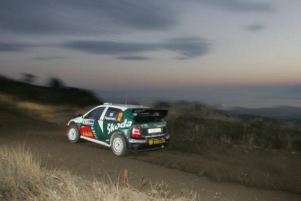 2005 FIA World Rally Champs. Round nine, Rally Argentina 14th - 17th July 2005 Janne Paasonen, Skoda, action.