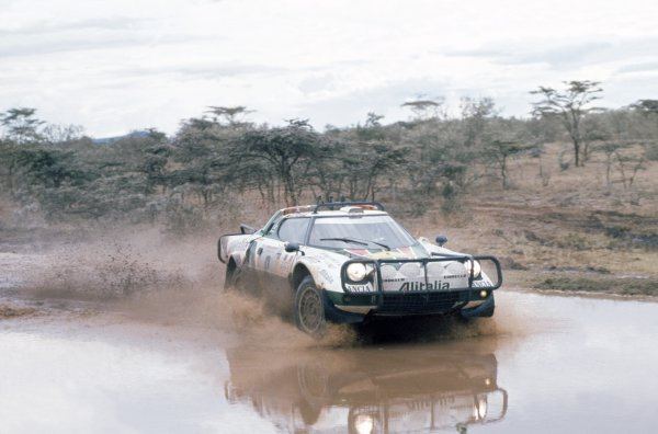 1976 World Rally Championship.Safari Rally, Kenya. 15-19 April 1976.Bjorn Waldegaard/Hans Thorszelius (Lancia Stratos), retired.World Copyright: LAT PhotographicRef: 35mm transparency 76RALLY13