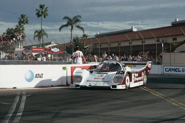 Del Mar 2 hours, California, USA. 25th October 1987. Rd 16. Jochen Mass (Porsche 962), 1st position, action.  World Copyright: Bill Murenbeeld/LAT Photographic.  Ref: 87IMSA DM02.