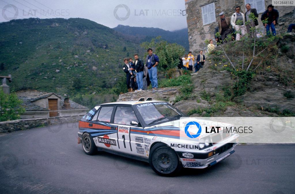 1989 World Rally Championship.Tour De Corse. Corsica.Didier Auriol(Lancia Delta) 1st Position.World Copyright:LAT PhotographicRef:35mm Image