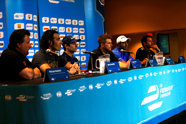 2014/2015 FIA Formula E Championship. Long Beach ePrix, Long Beach, California, United States of America. Friday 3 April 2015 Friday Driver Press Conference. Michael Andretti, Andretti Autosport, Dario Franchitti, Nicolas Prost (FRA)/E.dams Renault - Spark-Renault SRT_01E, Scott Speed (USA)/Andretti Autosport - Spark-Renault SRT_01E, Salvador Duran (MEX)/Amlin Aguri - Spark-Renault SRT_01E and Oriol Servia, Dragon Racing. Photo: Zak Mauger/LAT/Formula E ref: Digital Image _L0U6017