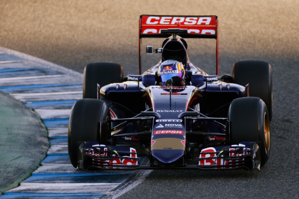 2015 F1 Pre Season Test 1 - Day 1 Circuito de Jerez, Jerez, Spain. Sunday 01 February 2015. Carlos Sainz Jr, Toro Rosso STR10 Renault.  World Copyright: Glenn Dunbar/LAT Photographic. ref: Digital Image _W2Q7406